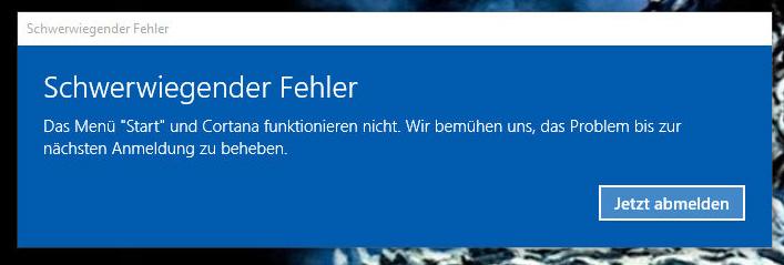 Windows 10 Fehlermeldung