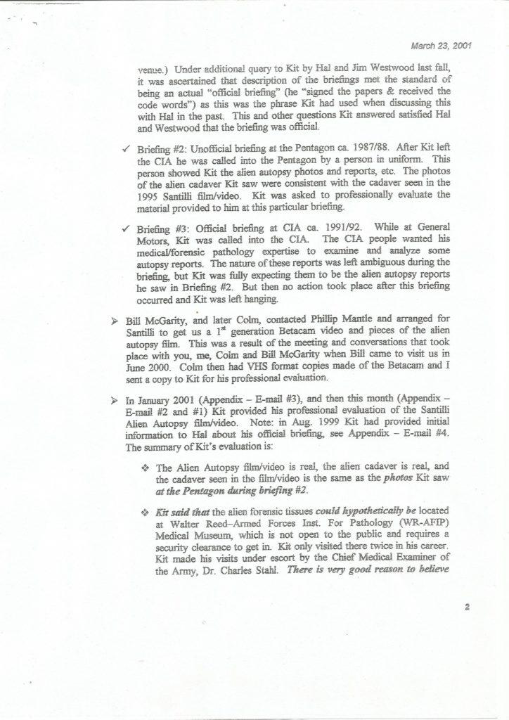 Bigelow Memorandum - Seite 2