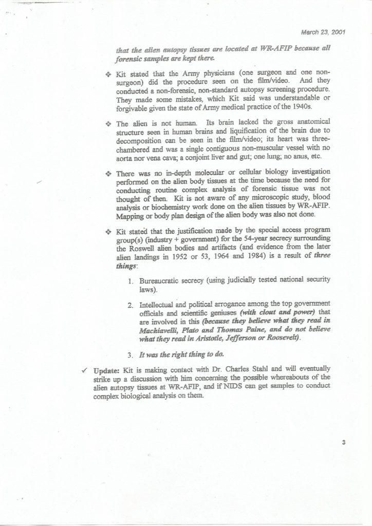 Bigelow Memorandum - Seite 3