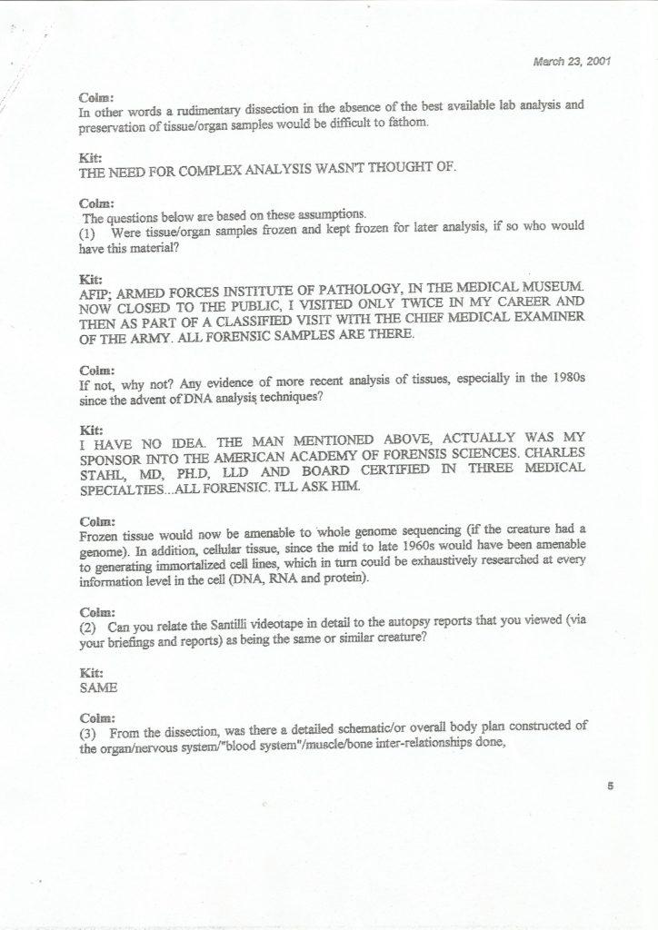 Bigelow Memorandum - Seite 5