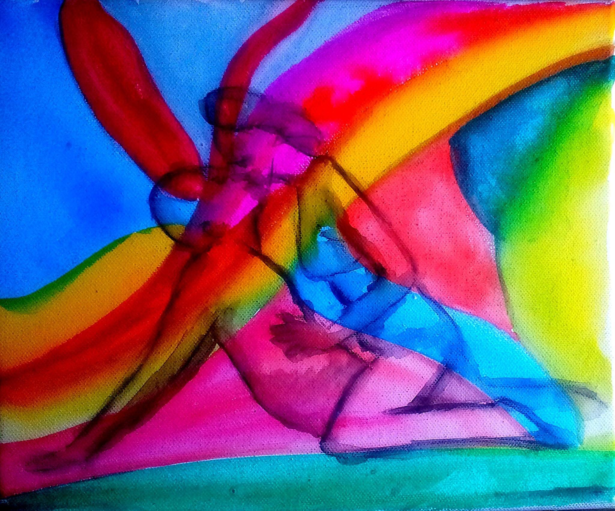 Paar beim Liebesspiel, Aquarell, Künstler unbekannt